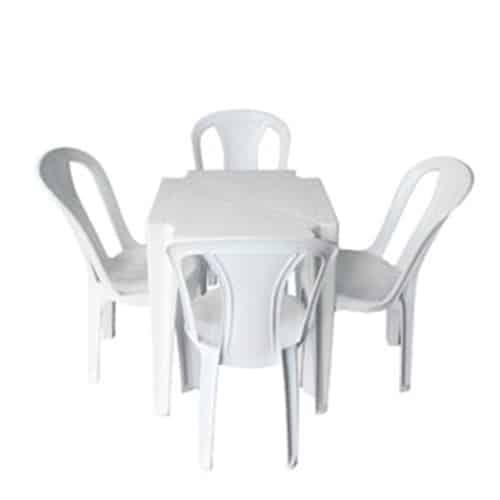Imagem Mesa Plástica Quadrada 70cm 4 Cadeiras